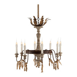Kathy Kuo Home - Lafayette French Country Rustic 8-Light Chandelier - A central hand carved base with a distressed finish is surrounded by a rusted iron support for 8 twinkling lights accented by frayed burlap ties on the Lafayette Chandelier.