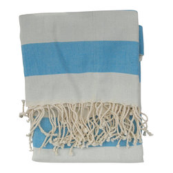 Turkish Peshtemal Bath and Beach Towel , Sky Blue - The Turkish peshtemal towel is made of 100% soft, natural turkish cotton in a large & generous size. A popular towel for summer because they're absorbent and dry quickly. These towels are lightweight and roll up easily to take to the gym or spa. Worn as a beach sarong or sarong dress in top resorts worldwide, sarongs are a fashionable and acceptable form of dress in a beach community, along the boardwalk, in restaurants and shops.  At the beach or pool they can also double as a beach towel or lounge chair cover.  Used as a bath towel, they add a light, airy decorative touch to the bath; A very summery, stylish look.