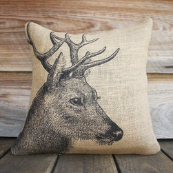 Deer Burlap Pillow Cover by The Watson Shop - A burlap pillow with a decorative deer pretty much sums up the rustic essence of fall. It's perfect for a man cave or den.
