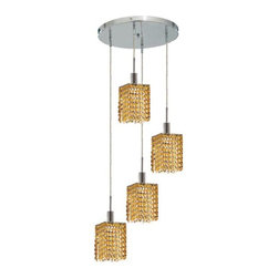"PWG Lighting / Lighting By Pecaso - Wiatt 4-Light 9.5"" Crystal Ceiling Pendant 1092D-R-S-LT-RC - Whether shown individually or as a collection, our Mini Crystal Chandeliers are stunning in any fashion. This stylish collection offers stunning crystal in a range of colorful options to suit every decor."