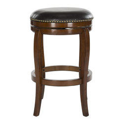 Safavieh - Nuncio Bar Stool - Elegant in its British-inspired lines, the Nuncio barstool with swivel seat is a classic. Crafted of eco-friendly rubberwood in a walnut finish and brown PU leather with bronze nailhead trim, this backless barstool won't block pretty views.