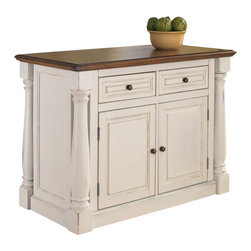 "Home Styles - Home Styles Monarch Kitchen Island - Home Styles - Kitchen Carts - 502094 - The Monarch Kitchen Island blends upscale design with state-of-the-art functionality. Stylish design features include a solid hardwood distressed Oak finished top with profiled edges; framed side and back panels; and a multi-step Antiqued White sanded and distressed finish over hardwood solids and engineered wood. Functional elements include two storage drawers and a storage cabinet with four adjustable shelves. What makes this island really unique is the hidden sliding mechanism connected to the back two shaped and turned posts. The mechanism provides easy mobility and independent movement of the two posts for expansion of the breakfast bar. The 15.5"""" breakfast bar extends the top surface from 25"""" to 40.5"""". Either with the breakfast bar closed or in use this piece has a polished look by being consistently styled on both the approach and working sides."