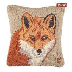 "Silver Nest - Fall Fox Pillow - 18"" square hand hooked pillow, pure New Zealand wool. Zippered velveteen backing with poly-fill pillow insert."