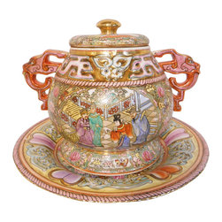 """Oriental Furnishings - Oriental Rose Medalion Porcelain Tureen with Handles - Exotic and grand best describes this Oriental richly hand painted, lidded bowl with plate. It's finely painted colors and unique shape make this a graceful addition to your table top. A gorgeous art object as well as a useable bowl (for cold items), it is painted with an artful Asian rose medallion and rabbit floral pattern. Arabesque flared handles and a unique shape make it a stand-out accent for your home. Use on a coffee table, buffet or server.  This large bowl with lid (14.5"""" X 11"""" X 11"""" H) is perfect as a center piece. Not for hot food use but use as a storage bowl or candy bowl."""