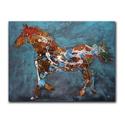 "Speckled Pony 24x32 Print - ""Speckled Pony"" is a contemporary horse canvas giclee by Jeff Boutin.  This 24x32 canvas is gallery wrapped . We take the fine art canvas and stretch it over a wooden frame, adhering the canvas to the backside of the frame. The canvas actually wraps around the edges of the frame, giving your print the look of a fine piece of art, such as you might find in an art gallery. There is no need for a picture frame. Your piece of art is ready to hang or lean against a wall, or display on an easel."