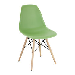 "IFN Modern - Eames Style DSW Chair-Light Green - Overall Dimensions: 32.5""H x 21\""L x 18.5\""D Sturdy and comfortable fiberglass seat l Solid plywood legs"