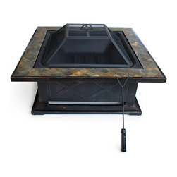 None - Outdoor Escapes 36-inch Square Slate Fire Pit Table - This fire pit features a stylish tile top and antique bronze embossed side panels and comes with a safety mesh screen lid and safety hand tool. Perfect for your outdoor get-togethers,this fire pit will provide warmth and illumination.