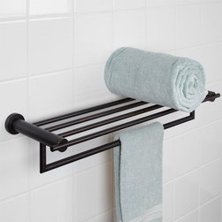 Aylett Double Towel Rack - It is easy to hang and store towels with the sleekly styled Aylett Collection Double Towel Rack. This solid brass piece includes a shelf for organizing your bath accessories and a bar large enough for hanging multiple towels.