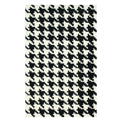 nuLOOM - Contemporary Transitional 5' x 8' Black Hand Hooked Area Rug Houndstooth - Made from the finest materials in the world and with the uttermost care, our rugs are a great addition to your home.