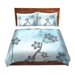 DiaNoche Designs - Duvet Cover Microfiber - Floral Twigs - Super lightweight and extremely soft Premium Microfiber Duvet Cover in sizes Twin, Queen, King.  This duvet is designed to wash upon arrival for maximum softness.   Each duvet starts by looming the fabric and cutting to the size ordered.  The Image is printed and your Duvet Cover is meticulously sewn together with ties in each corner and a hidden zip closure.  All in the USA!!  Poly top with a Cotton Poly underside.  Dye Sublimation printing permanently adheres the ink to the material for long life and durability. Printed top, cream colored bottom, Machine Washable, Product may vary slightly from image.