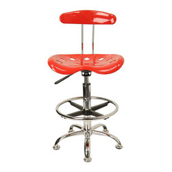 Flash Furniture - Flash Furniture Vibrant Drafting Stool Seat in Red and Chrome - Flash Furniture - Drafting Chairs - LF215REDGG - Quality chair at an amazingly affordable price! This sleek modern stool conforms to several areas in the home or office. The molded tractor seat offers great comfort. The height adjustable capability of this stool allows you to use the stool at the dining table and bar table and anywhere in between. [LF-215-RED-GG]