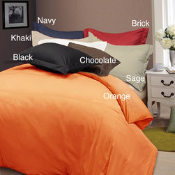 None - Solid Color Soft Microfiber 3-piece Duvet Cover Set - Give your bedroom a fast facelift with this three-piece duvet cover set that is available in a host of colors. This solid cover duvet with coordinating shams is crafted from soft microfiber and features a 210-thread-count weave with a button closure.