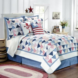 Pem America, Inc. - Triangle Stripe Quilt - Celebrate America with this hand-pieced cotton quilt featuring postage stamp triangles in multiple shades of red, blue, and beige on a white ground reminiscent of the American flag.