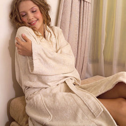 Silk Terry Robe - Ivory - Envelope yourself in the luxe feel of 100% silk  terry pile with 18 essential amino acids and delight in a robe that is both chic and absorbent. Lounge on your veranda with a hot cup of tea as you reflect on the day to come and do it in comfort.