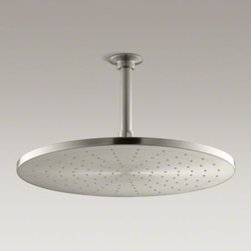 "KOHLER - KOHLER Contemporary Round 14"" rainhead with Katalyst(R) spray, 2.5 gpm - Enjoy a shower that simulates the soaking deluge of a warm summer downpour. This contemporary-style showerhead features innovative Katalyst(TM) air-induction technology, which efficiently mixes air and water to produce large water droplets and deliver a p"