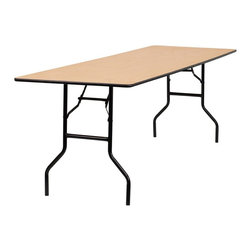 Flash Furniture - 96 in. Rectangular Folding Banquet Table - Thick plywood top. Black t mold edge band. Black powder coated wishbone legs. 18 gauge steel legs. Non marring foot caps. Supplier warranty: Our products have a 2 year warranty for parts. This warrants against defects in manufacturing. If the products are used excessively (more than 8 hours/day), and have excessive weight (over 225 lbs.) applied, the warranty is void. New parts will be sent out, or the item will be replaced at our discretion.. Made from steel and wood. No assembly required. 96 in. L x 30 in. W x 30.25 in. H