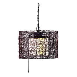 Kenroy - Kenroy KR-93393BRZ Tanglewood 1Lt Outdoor Pendant - Natural looking all-weather rattan entwines itself into a swirling patterned drum encircling a White glass inner shade.