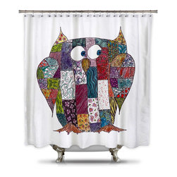 ShowerCurtain HQ - Catherine Holcombe Log Cabin Owl Fabric Shower Curtain, Standard Size - Standard Size: 70 x 70