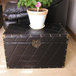 None - Black Faux Leather Medium Wood Steamer Trunk - This steamer trunk is a wonderful,smart storage solution for your throw pillows,blankets and other necessities you would like to keep at hand. This trunk also features a cedar construction.