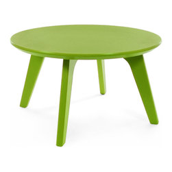 Loll Designs - Satellite End Round 26 Table, Leaf Green - In the context of outdoor lounging, a Loll Satellite accent table is a recycled polyethylene object placed into orbit around humans resting in Loll Furniture. Unlike the moon, the Loll Satellite Table actually rotates in conjunction with the Earth and her inhabitants, at just over 1,000 miles per hour, but appears to be sitting still. We think it's time for you to have your very own Satellite... perfect for star gazing on black nights with warm breezes and cold drinks. All Loll Satellite Tables are made with heavy duty 1 inch thick poly and available in an assortment of colors, shapes and sizes.