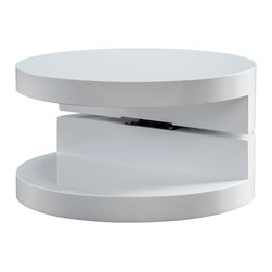 Great Deal Furniture - Emerson Small Circular Mod Swivel Coffee Table - The Emerson Small Circular Mod Swivel Coffee Table is reminiscent to the late 60's era. This modern designed table features a rotating top that can be angled according to your convenience and taste. The unique gap that gives this table its unique flair, can also be utilized for display purposes or storage. Far from traditional, the Emerson will sure to be a statement piece in your living room, bedroom or office.
