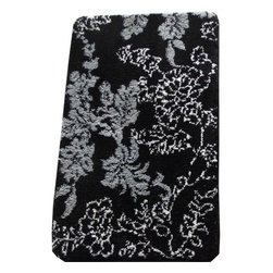 EverRouge - Memory Foam Black/ Grey Floral 20 x 32 Bath Mat - Upgrade your bathroom decor with this floral bath rug. This stylish rug features skid-resistant elastic backing and high-density memory foam. Designed to offer both luxury and comfort, this unique rug is sure to complement your bathroom beautifully.