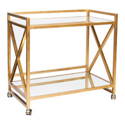 """Worlds Away - Worlds Away Gerard Gold Leafed Bar Cart - Bold with criss-cross accents, the gold Worlds Away Gerard bar cart stands with sophisticated and geometric allure. Two mirrored shelves deliver transitional dining rooms chic display surfaces in classic style. 36""""W x 22""""D x 32""""H; Gold leaf; Tubular steel; Includes wheels for easy mobility"""