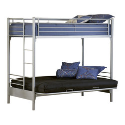 Hillsdale Furniture - Universal Youth Twin Over Futon Bunk Bed in S - NOTE: ivgStores DOES NOT offer assembly on loft beds or bunk beds. Includes bunk bed sides, mechanism, deck and rails. Mattress not included. 80 in. L x 41 in. W x 70 in. H. Bunk Bed Warning. Please read before purchase.The Silver and Navy Universal youth bedroom offers super solutions for any kids room, whether you choose the traditional bed, the bookcase headboard with under bed storage, the Loft bed or bunk beds. Add any combination of case goods to create the perfect home base for your child, tween or teen.