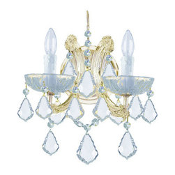 Crystorama Lighting Group - Maria Theresa Gold Two-Light Wall Mount Draped In Hand Cut Crystal - - For centuries, Maria Theresa style of crystal chandeliers has been a sign of wealth, style, and class. In keeping with the time honored traditions of our European artisans, Crystorama's Maria Theresa collection offers a variety of finishes and crystal combinations. Shown here dressed in our popular Golden Teak crystal. Also available in clear crystal (Strass, Swarovski Spectra, or Majestic Wood Polished). Crystorama Lighting Group - 4472-GD-CL-MWP