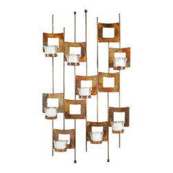 Burnt Copper Squares Candle Wall Sconce - 26.8H in. - The eye-catching Burnt Copper Squares Candle Wall Sconce – 26.8H in. features a Mid-Century Modern-inspired, geometric design with an eye-catching copper finish. Eight glass candle cups illuminate this wall hanging, providing a warm flicker of light sure to add to the ambiance in the evening hours. The metal construction ensures long-lasting durability.