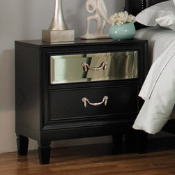 Coaster - Devine Nightstand in Black Finish - The unique styling of the Devine bedroom collection offers a casual contemporary look that is sure to make a bold statement in your master bedroom. The top drawer fronts on each case piece features a mirrored front panel which creates an exceptional appearance and style.