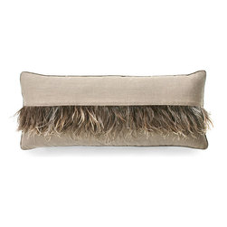 Ostrich Feather Stripe Pillow - Cappucino - The expected lumbar pillow is enlivened with the whimsical design of the Ostrich Feather Stripe Pillow - Cappuccino. The soft neutral coloration of the pillow is accented with a graceful fringe of ostrich feather, in hues of gentle gray and warm brown, that is distinctive yet not overly embellished. Present the pillow upon a cozy loveseat, an occasional chair, or a reclaimed wood bench in a foyer for an accent that charms.