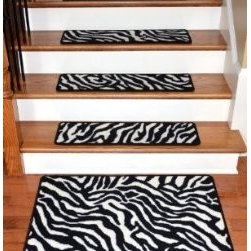 """Dean Flooring Company - Dean Premium Carpet Stair Treads - Zebra 30"""" x 9"""" PLUS a Matching 2'x3' Mat - Dean Premium Carpet Stair Treads - Zebra 30"""" x 9"""" PLUS a Matching 2'x3' Landing Mat : Beautiful Plush Premium Carpet Stair Treads by Dean Flooring Company. Zebra. Luxurious and resilient texture. High fashion design. Densely woven construction. Uncommon softness and durability. Made from premium quality broadloom. Stylish enough to compliment the finest decors. Color: Zebra. Stair treads are approximately 30 inches by 9 inches. Set includes 13 stair treads plus a matching 2'x3' landing mat. Each tread is finished on all four sides with color matching yarn. Helps prevents slips on your hardwood stairs (treads must be securely attached to your stairs). Provides warmth and comfort. Extends the life of your hardwood stairs. Easy do-it-yourself installation with double sided mesh carpet tape (sold separately)"""