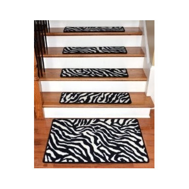 "Dean Flooring Company - Dean Premium Carpet Stair Treads - Zebra 30"" x 9"" PLUS a Matching 2'x3' Mat - Dean Premium Carpet Stair Treads - Zebra 30"" x 9"" PLUS a Matching 2'x3' Landing Mat : Beautiful Plush Premium Carpet Stair Treads by Dean Flooring Company. Zebra. Luxurious and resilient texture. High fashion design. Densely woven construction. Uncommon softness and durability. Made from premium quality broadloom. Stylish enough to compliment the finest decors. Color: Zebra. Stair treads are approximately 30 inches by 9 inches. Set includes 13 stair treads plus a matching 2'x3' landing mat. Each tread is finished on all four sides with color matching yarn. Helps prevents slips on your hardwood stairs (treads must be securely attached to your stairs). Provides warmth and comfort. Extends the life of your hardwood stairs. Easy do-it-yourself installation with double sided mesh carpet tape (sold separately)"