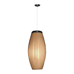 Jeffan International - Kuta Convex Cylinder Hanging Lamp w Fiber Accent Shade - Bulb not included. Requires one 40/60 watt bulb. Unique lighting for creating great ambiance. Recognized by HGTV for its innovative design. Cream colored yarn wrapped vertically around a white fiberglass with wooden base. Black wooden base. 7 ft. electrical cord with on/off switch. Made from fiberglass and thread. Made in Indonesia. No assembly required. 10 in. L x 10 in. W x 26 in. H (16 lbs.)
