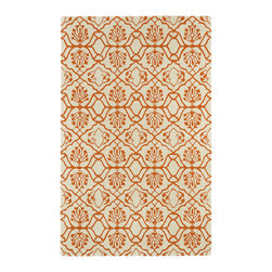 "Kaleen - Kaleen Evolution Collection EVL01-89 5' x 7'9"" Orange - The Evolution collection completely embraces the history of classic elegance and traditional expertise of Kaleen Rugs, while perfectly capturing the evolving high fashion and hot new trends of today's design. Dramatic patterns showcasing precise attention to details and a unique twist of color will add the perfect addition to your home. Each rug is Hand-Tufted in India with a 100% soft and luxurious wool."