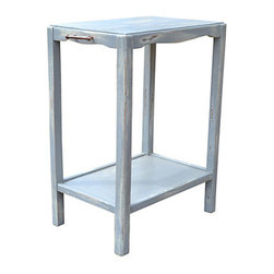 """Consigned Vintage Two Tear Stand w/ Bronze Handles - Vintage gray painted continental two tear stand with two bronze handles on each side. Outside measurements W 22 ½"""" x 22 ¼"""" x D 14"""" Opening between the shelves H 19 ½"""" bottom shelve inside - W 17 ½"""" x D 13 ¾"""" Wear appropriate with the age, stand is very sturdy. Handle probably replaced."""