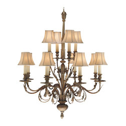 Fine Art Lamps - Verona Chandelier, 710340ST - A traditional chandelier can add a romantic touch to any room, and this one is no exception. Finished in a rustic, antique gold, this chandelier takes center stage with 12 candelabra lights in sand-colored shades.