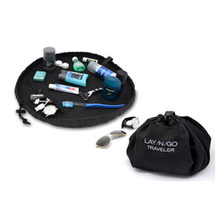 """Lay-n-Go - Lay-n-Go TRAVELER, 20"""" - Lay-n-Go® TRAVELER (patent pending) is a 20"""" diameter MEN'S Dopp Kit that converts into an easily transportable handled pack, allowing for quick and effortless clean-up of toiletries and bath basics. Men's essentials stored in the Lay-n-Go, are easily spread out on a clean, contained, dry surface--we even added a pocket to the inside for small items. No more digging through your toiletry bag or putting your toothbrush on a hotel counter.  Once finished, pull the drawstring and the kit is converted back into a completely sealed pack that can be stowed away. Lay-n-Go TRAVELER is the smart and easy 4-in-1 solution….use, cleanup, store, and go!"""