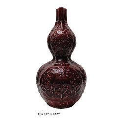 Chinese Red Glazed Gourd Shape Ceramic Vase - http://www.orientliving.com/chredglgoshc.html