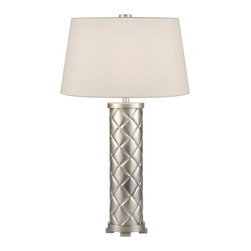 Fine Art Lamps - Recollections Table Lamp, 836410ST - Add some luminous definition to your contemporary spaces with this table lamp. Covered in diamond shapes, the polished platinum base comes with a sleek, rolled-edge cream shade top.