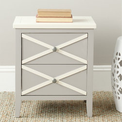 Safavieh - Safavieh Sherrilyn Grey/ White 2-drawer Side Table - The crisp colors and clean lines of this two-drawer side table will add contemporary style to your home. Perfect next to your bed or sofa, this table features drawer pulls for easy operation and stylish X detailing that makes it unique.