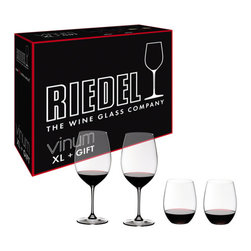 "Riedel - Riedel Vinum XL Cabernet and ""O"" Viognier Glasses - Set of 4 - A great way to start a new collection of Riedel or augment your existing assortment at home, this new bonus pack gets you 2 Vinum XL Cabernet and 2 Viognier ""O"" tumblers for the price of the 2 Vinum XL glasses. The Riedel Vinum XL Cabernet glass excels in flawlessly blending together the wine's aromas and flavors, bringing to light brilliant concentration, while harmonizing the intense sweet dark red fruit, integrating the tannins and masking the alcohol. The trendy and sophisticated ""O"" tumblers will perform much like Riedel's preceding wineglass creations, but will also fit easily into the dishwasher or cupboard without the worries of breaking the stem. For those who would like to experience the concept of matching the shape of the glass to the grape without the traditional stemmed glass."