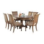 American Drew - American Drew Grand Isle 8-Piece Round Dining Room Set in Amber - The Grand Isle collection is a lifestyle bedroom and dining room group that offers high end, yet casual up to date tropical style with multiple options for any room of the home; creating a collection that is perfect for many homes, vacation homes or even smaller size vacation condos. The amber finish has a warm overtone with subtle dark burnished accents that make the natural soft distressing show through. Design elements used in Grand Isle include carved and shaped pilasters, woven drawer fronts and a louver motif; all adding a higher end look to the collection. This collection is sure to add a relaxed, yet sophisticated style to most homes and offers plenty of options to help with storage and organization.