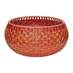 Lazy Susan - Large Fish Scale Basket in Red and Orange - Large Fish Scale Basket in Redland Orange