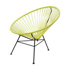 Innit Chair - Yellow - This circular lounger harmonizes the function of ergonomic comfort with a retro-modern aesthetic. The flexible yet durable vinyl cord weave perfectly cradles your body within its clean lines and offers a casual sophistication to every home.