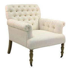 "Zentique - Lorraine Tufted Arm Chair by Zentique - Our personal favorite is this classic tufted back upholstered arm chair in ivory linen upholstery with natural oak legs. The two front legs are on casters for easy mobility. (ZEN) 33"" wide x 29"" deep x 35"" high"