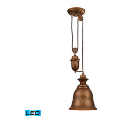 Elk Lighting - EL-65060-1-LED Farmhouse LED 1-Light Pendant in Bellwether Copper - Inspired by antique lighting, this series recalls turn-of the century design where simple aesthetics and mechanical function combined to create charming, yet versatile fixtures. These classic pull-downs have a decorative weight that counterbalances the fixture for easy height adjustability anytimeby simply pulling down or lifting up on the fixture. - LED offering up to 800 lumens (60 watt equivalent) with full range dimming. Includes an easily replaceable LED bulb (120V).