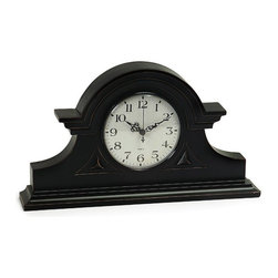 """IMAX - Black Mantel Clock - This charming black mantle clock will become a keepsake as it keeps time Item Dimensions: (8.5""""h x 15""""w x 2.75"""")"""