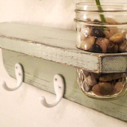 Primitive Wooden Wall Shelf with Mason Jar by Midwestern Treasures - This piece provides shelf space and hooks for hanging items, but the addition of the Mason jar gives it the perfect dose of charm!